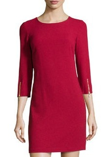Laundry by Shelli Segal Crepe Zipper-Sleeve Dress, Berry