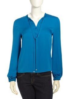 Diane von Furstenberg Whitman Long Sleeve Tie Collar Blouse, Tess Blue