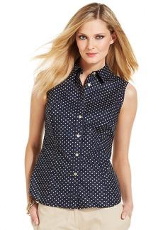 Jones New York Signature Petite Sleeveless Polka-Dot Shirt