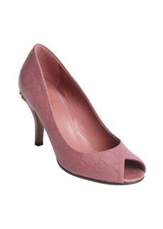 Gucci vintage rose guccissima leather peep toe horsebit detail pumps