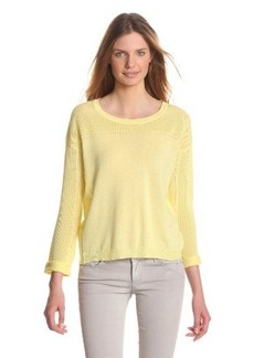 Design History Women's 3/4 Sleeve Scoop Neck Mesh Stitch Sweater