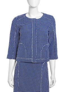 Laundry by Shelli Segal Boxy Swiss Dot Jacket, Blue Beret