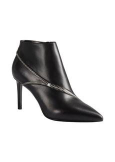 Saint Laurent black leather zipper detail ankle booties