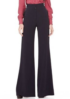 Zac Posen High-Waist Wide-Leg Trousers, Midnight