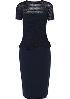 Oscar de la Renta Crocheted and stretch-knit peplum dress