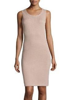 St. John Scallop-Trim Knit Tank Dress, Bisque