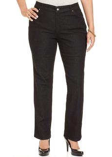 Charter Club Plus Size Flawless Straight-Leg Jeans, Black Tint Wash