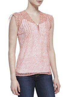 Macy B Printed-Silk Cap-Sleeve Blouse   Macy B Printed-Silk Cap-Sleeve Blouse