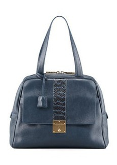 Checkers Snake-Trimmed Dome Tote Bag, Atlantic   Checkers Snake-Trimmed Dome Tote Bag, Atlantic