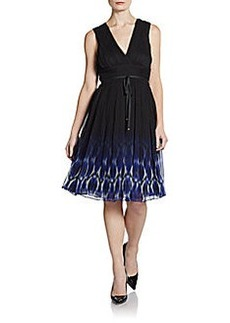 Elie Tahari Ruched Silk Chiffon Dress