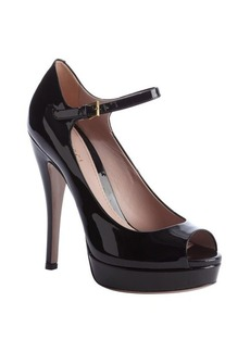 Gucci black leather ankle strap peep toe platform pumps