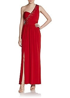 Laundry by Shelli Segal One-Shoulder Draped Gown