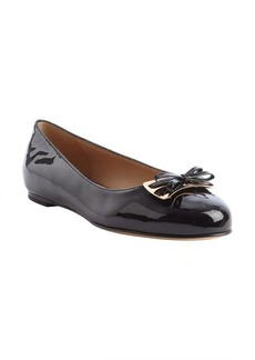Salvatore Ferragamo black patent leather bow detail 'Birba' ballet flats