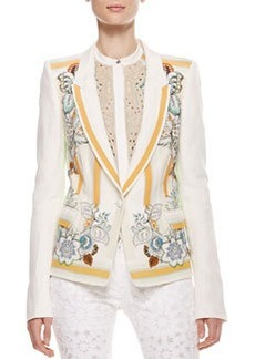 Roberto Cavalli Printed Linen Blazer, Cream/Orange