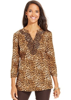 Charter Club Embroidered Animal-Print Linen Tunic