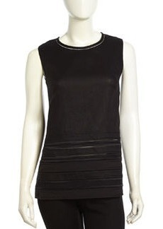 Lafayette 148 New York Paneled Linen Tank Top, Black