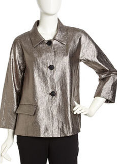 Lafayette 148 New York Metallic Linen Button-Front Blazer, Gunmetal