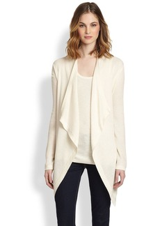 Saks Fifth Avenue Collection Silk/Cashmere Draped Open Cardigan