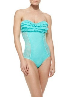 Juicy Couture Ruffle-Detail Bandeau Maillot Swimsuit, Aqua Sky
