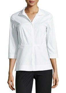Lafayette 148 New York Ellis Stretch-Poplin Blouse, White