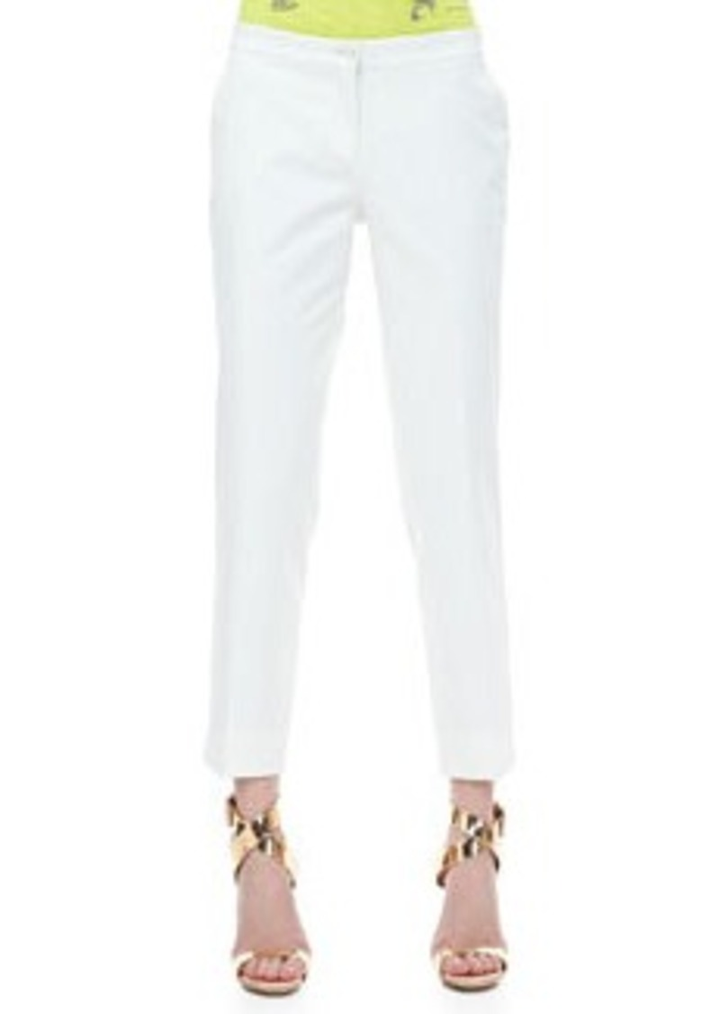 Front-Closure Ankle Pants, White   Front-Closure Ankle Pants, White