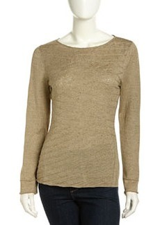 Lafayette 148 New York Asymmetric Pintuck Stripe Linen Blend Sweater, Beige