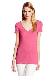 Michael Stars Women's One x One Slub Short-Sleeve V-Neck Tee Shirt