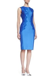 Lela Rose Satin Lace-Side Sheath Dress