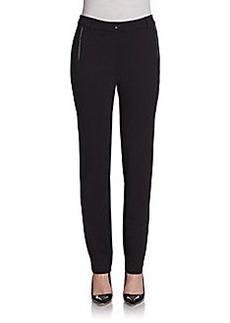 Saks Fifth Avenue BLACK Faux Leather Trim Ponte Knit Pants