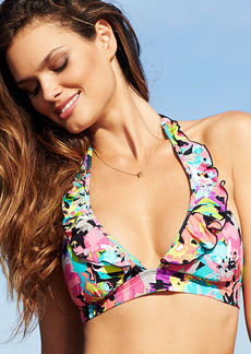 Kenneth Cole Reaction Floral-Print Ruffle Halter Bikini Top