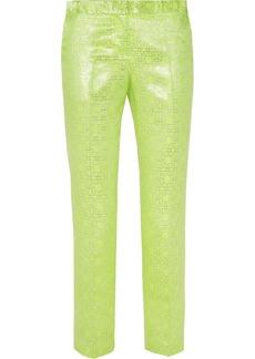Tibi Neon and metallic jacquard straight-leg pants