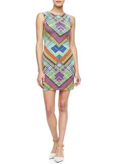 Mara Hoffman Printed Jersey Peekaboo-Back Mini Dress