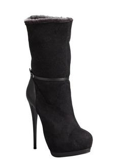 Giuseppe Zanotti black suede 'Eva' shearling lined platform boots