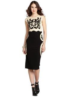 A.B.S. by Allen Schwartz black and cream rose motif stretch jersey cap sleeve dress