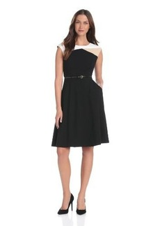 Calvin Klein Women's Color-Block Ponte Dress with Belt