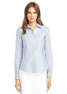 Non-Iron Tailored Fit Supima® Cotton Double Framed Stripe Dress Shirt