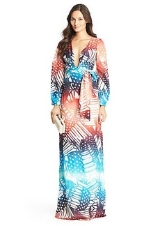 Mauri Printed Long Sleeve Silk Gown