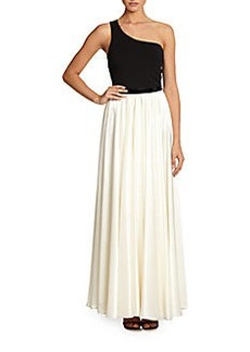 ABS One-Shoulder Colorblock Gown
