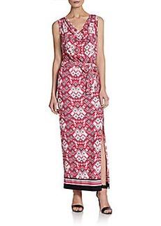 Ellen Tracy Geometric-Print Cowlneck Maxi Dress