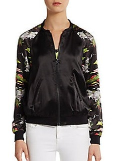 French Connection Silk Printed-Sleeve Baseball Jacket