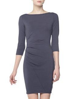 James Perse Asymmetric Bateau-Neck Dress, Titan