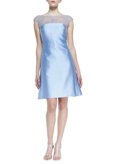Kay Unger New York Cap-Sleeve Beaded Lace-Yoke Cocktail Dress, Periwinkle