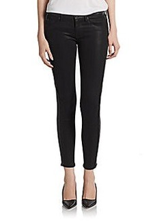 Hudson Leather-Trimmed Cropped Skinny Pants