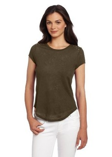 Democracy Women's Knit Top With Woven Contrast Back And Studs