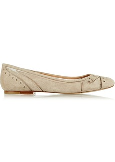 Sigerson Morrison Alesia suede and mesh ballet flats