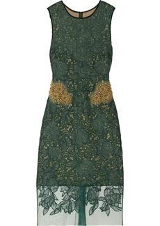 Vera Wang Embellished guipure lace dress