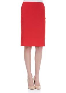 Escada Kick-Pleat Wool Pencil Skirt, Poppy