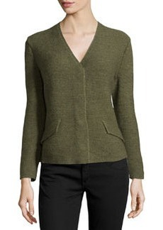 Lafayette 148 New York Chain-Knit Snap-Button Cardigan, Tarragon