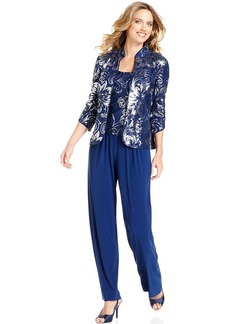 Alex Evenings Petite Suit, Three-Quarter Sleeve Jacket, Top & Pants
