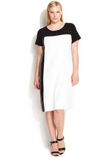 Calvin Klein Plus Size Faux-Leather-Trim Colorblock Dress